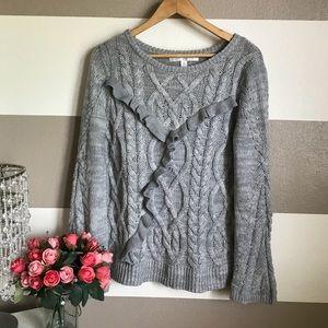 Lauren Conrad Ruffle Knit Gray sweater sz M