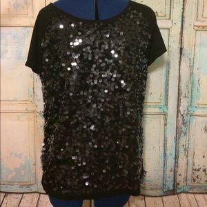 Ann Taylor Loft Black Sequined T-shirt Sz XL NWOT