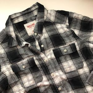 Black & White Flannel Plaid Shirt