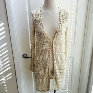 Free People Cream Crochet Duster