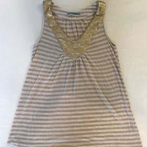 Cream and Beige Striped Top with Gold Sequins
