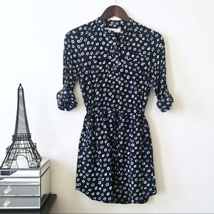 Loft Navy & White Printed Collarless Shirt Dress