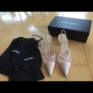 Chanel Light Pink Slingback Heels sz 39