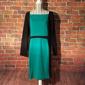 Narcisco Rodriquez green & black color block dress