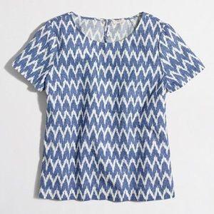 J. Crew Ikat printed linen and cotton tee shirt