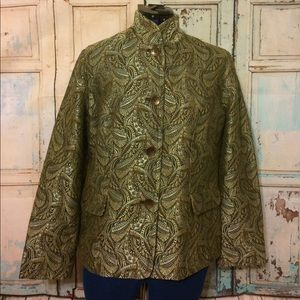 Chico's Green Gold Brocade Jacket Size 1 EUC