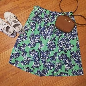 Green and blue floral skirt