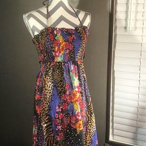 JESSICA SIMPSON Maxi Halter Tube Top Dress