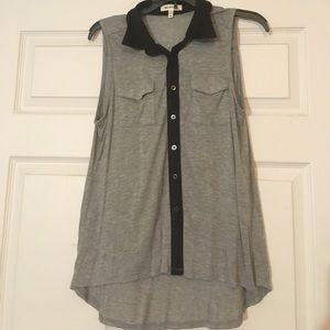 Grey Button Down Tank Top with Black Collar
