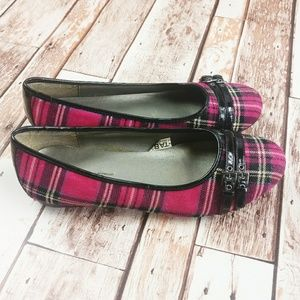 Cherokee Shoes - Cherokee Girls Pink & Black Plaid Flat Shoes