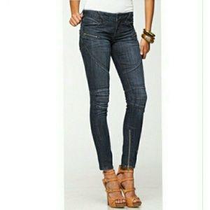 bebe Zipper Moto Skinny Jeans