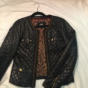 ABS Allen Schwartz Black Leather Quilted Jacket