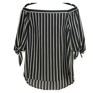 Black & White Striped Off The Shoulder Top