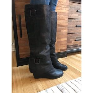 Vince Camuto leather wedge boots
