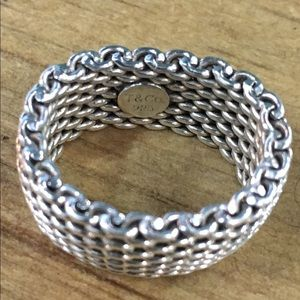 Tiffany & Co Somerset Mesh Sterling Ring Ret$300!