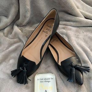 leather tassel flats