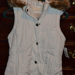 Arizona Girls White Lined Vest, Size 10-12, NWT