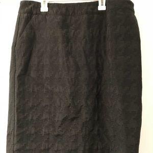 Black Houndstooth Skirt Size 14P Merona EUC