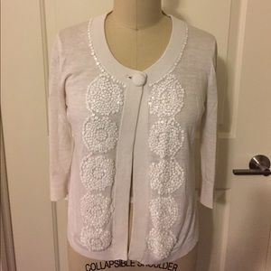 Kate Spade Ivory Stacked Sequin Cardigan