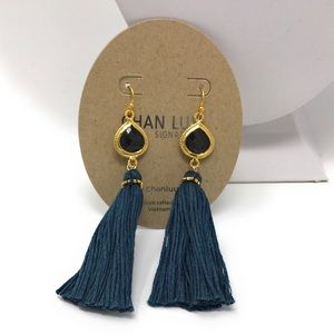Chan Luu Gold / Teal Tassel Earrings.