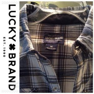 🍀 Lucky Brand Plaid Medium Top, blue and white