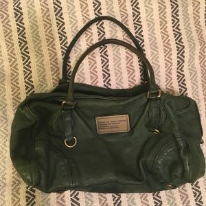 Marc by Marc Jacobs green leather duffel satchel
