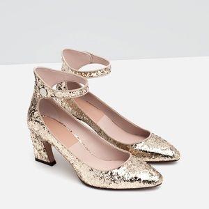 Zara mid heel glitter pumps