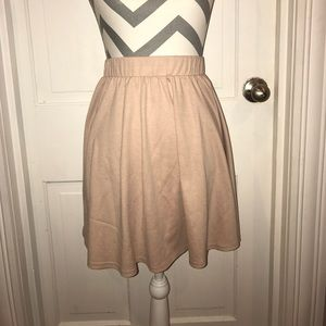 Plush pale pink skater skirt