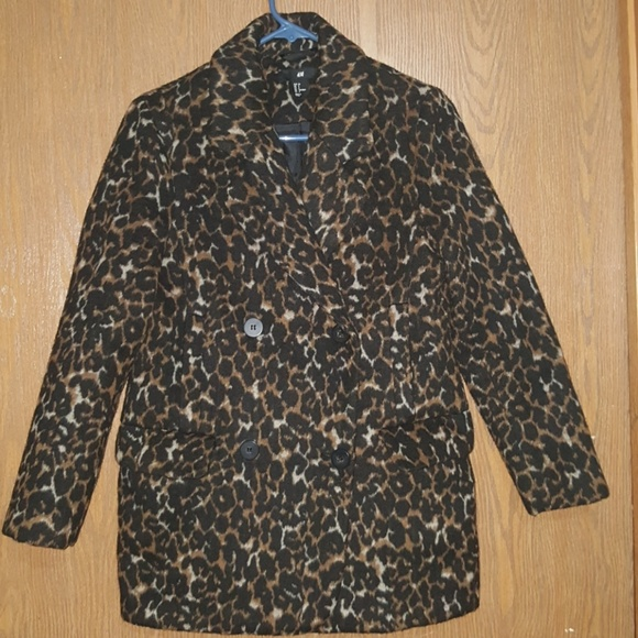 621eb9220422 H&M Jackets & Coats | Hm Leopard Print Peacoat | Poshmark