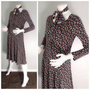 Original VTG 70s DVF Cherry Floral Print Dress S M