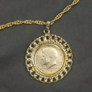 Jewelry - Vintage 1974 Half Dollar Gold Plated Necklace