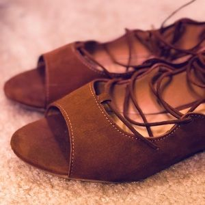 Boho Brown and gold Bamboo lace up flats