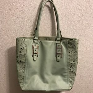 Teal floral cutout purse *USED*
