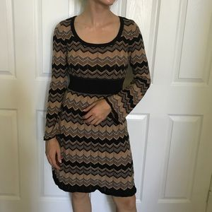 Brown & black chevron print sweater dress
