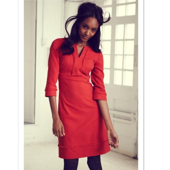 Boden Dresses Orange Cotton Knit Fringe Sheath Dress Sz 6 Poshmark
