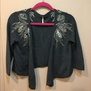 Free People Beaded Cropped Sweater