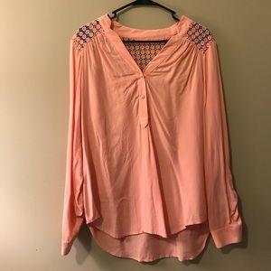 Long sleeve salmon blouse