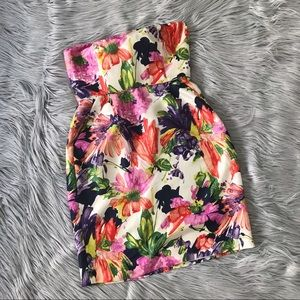 J.CREW Silk Floral Garden Party Strapless Dress