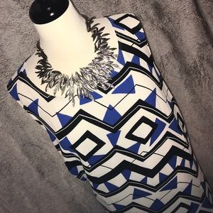 Black & Blue Geometric A-Line Dress