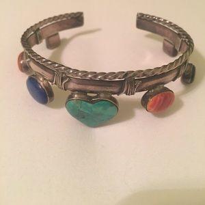 Jewelry - Silver Southwestern Turquoise/Multi Stone Bracelet