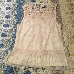 Cream lace boutique sleeveless Blouse
