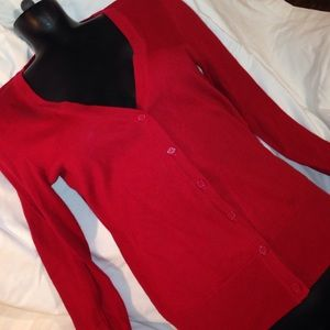 red size medium lightweight cardigan sweater