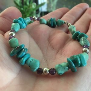Cute genuine Amethyst & Turquoise bracelet