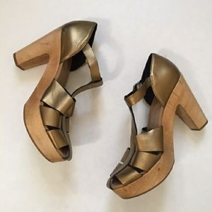 """Madewell """"Andie"""" Leather And Wood Gold Sandal"""