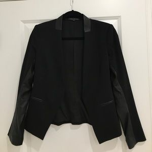 Theory leather trim blazer