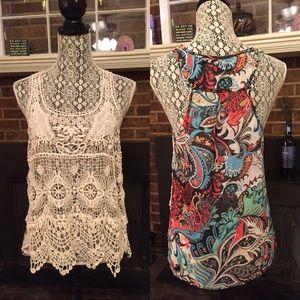 Crochet/sheer top M