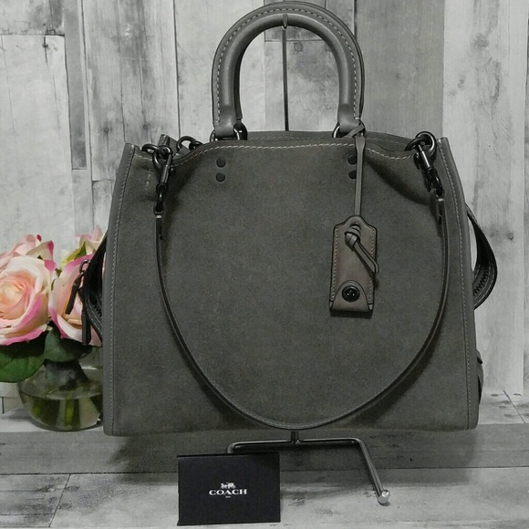 d3f10bed29fa Coach Handbags - Coach 1941 Grey Suede Rogue Handbag