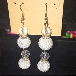 White bon bon earrings