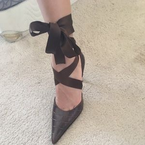 Kenneth Cole leather with satin lace heels