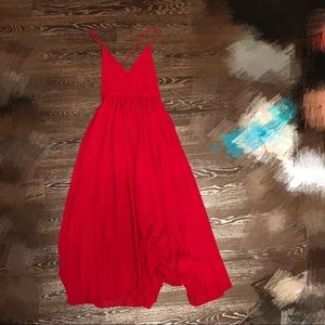 Dresses & Skirts - Long open back red chiffon dress